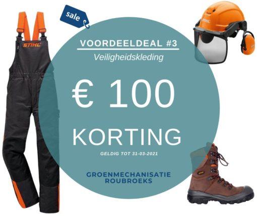 Voordeeldeals bij Groenmechanisatie Roubroeks: pakket DE BEUNHAAS met zaagbroek, zaagschoen en helmset
